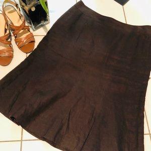 🌼 Ann Taylor Linen Brown Skirt